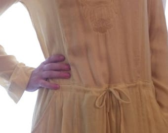 Cotton dress embroidered yellow color