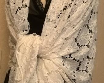 White lace wedding shawl