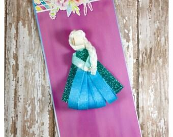 Princess Elsa Frozen Ribbon Sculpture, Elsa Hair Clip, Princess Anna and Elsa Inspired Hair Clip, Frozen Hair Clip, Girls Hair Access
