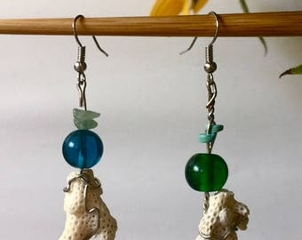 coral wire earrings