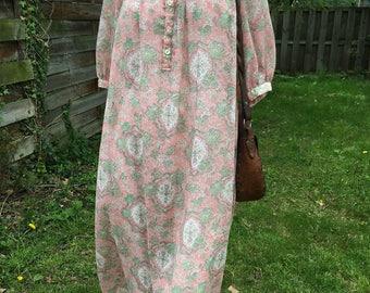 Lovely Vintage Pink Sheer Printed  Summer Dress/ Boho