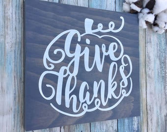 Fall Sign, Fall Wood Sign, Give Thanks Quote, Fall Decor, Thanksgiving Decor, Pumpkins Decor, Pumpkin Wood Sign, Thanksgiving Signs