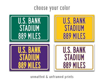 U.S. Bank Stadium Print, Minnesota Vikings, Personalized Highway Distance Sign, Miles To, Distance To, Football Fan Gift, Vikings Gift