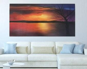 Sunset over the ocean handmade painting