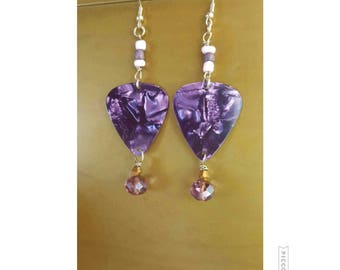 Purple Guitar Pick Earrings