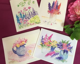 Original watercolor art print blank note cards and envelopes, floral watercolor note card set of 4