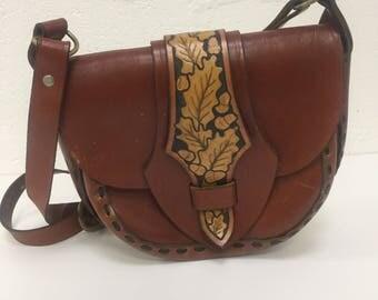Original Vintage 1960's Tooled Leather Handbag Purse Brown Tan FREE WORLDWIDE POSTAGE