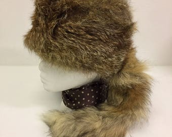 Vintage Real Fox Fur Hat Winter Hat with Tail Size Small FREE WORLDWIDE POSTAGE