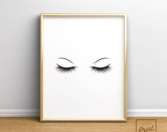 Makeup Print, Lashes Printable, Eyelash Print, Fashion Print, Fashion Sign, Bedroom Wall Decor, Bedroom Wall Art, Girl Print, Beauty Print