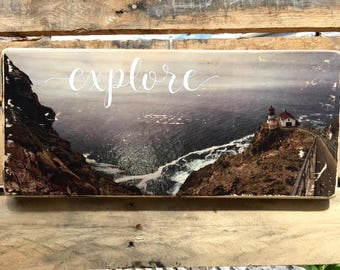 "California Lighthouse Wood Transfer ""Explore"""