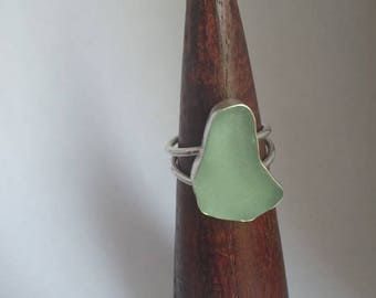 Seaglass ring sterling silver recycled