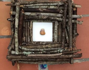 Handmade Wooden Frame with Gemstone