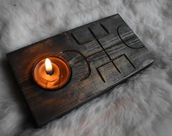 Calm anger stave candle holder *viking*norse*nordic*pagan*decor*asatru*heathen*rustic*housewarming*