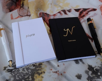 Mr and Mrs Notebooks, His and Hers, Custom Wedding Pocket Notebooks, Gold Foil, Silver Foil,