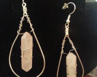 Rose Quartz double point Chakra Earrings