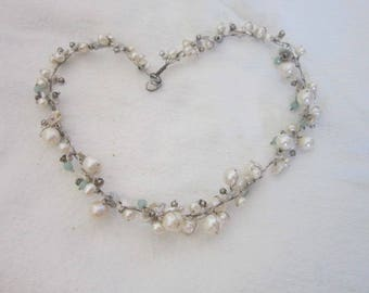 Vintage Real Pearl Cluster Necklace with glass beads & Real Pearls