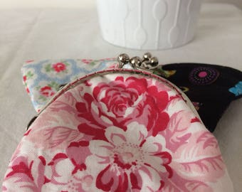 Handmade Coin purse floral/gingham pink