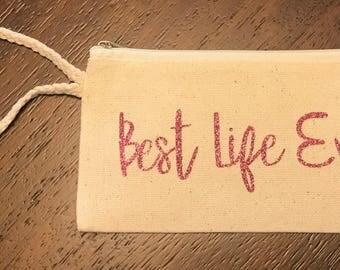 BEST LIFE EVER, Pioneer bag, Being, Pink font, service bag, pioneer, baptism gift, bag with strap