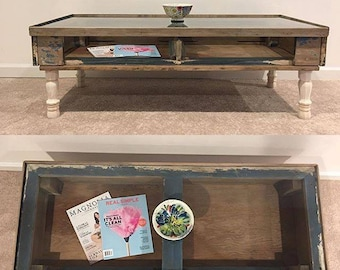 Blue Salvaged Distressed Up Cycled Weathered Coffee Table Old Desk