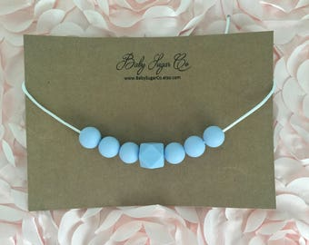 Baby Blue, Silicone Toddler Teething/Chew Bead Necklace