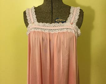 Pink Satin & Lace Nightgown and Robe Set; Peignoir Set; Shadowline; 1970s 1980s