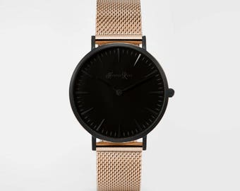 Ladies Watch, Women Leather bracelet, minimalist, gift for her, cheap leather watch, Christmas Watch, Rose Gold Mesh (Black/Black)