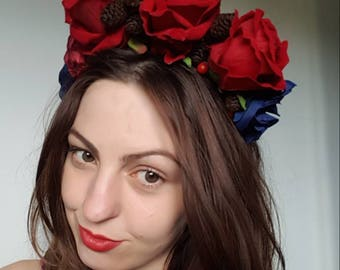 Mexican style rose crown,Frida Kahlo hair roses,red roses Alice band,red rose headband
