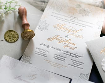 Letterpress Wedding Invitation Sample - Gold Foil, Grey, Calligraphy, Wax Seal on Cotton Paper