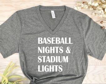 baseball nights and stadium lights , sports shirts, baseball shirts, team shirts, mom team shirts, game day shirts, tailgate shirts