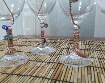AFRICAN Beaded Glassware Wine Glasses.