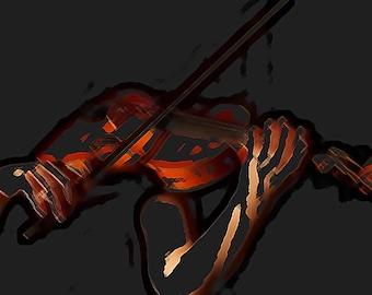 Abstract Art Violin player