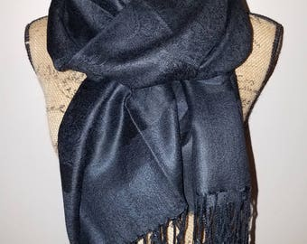 Black silk Pashmina textured floral with fringe scarf or shawl