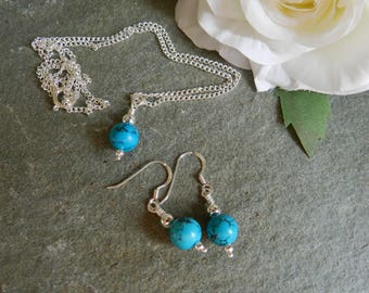 Turquoise Jewellery Set, Turquoise Beaded Earrings and Necklace Set, Birthday, Gift, Anniversary, Bridesmaid