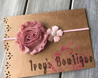 Dusty rose flower headband