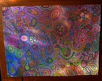 PAINTING: Muted Rainbow Doodles