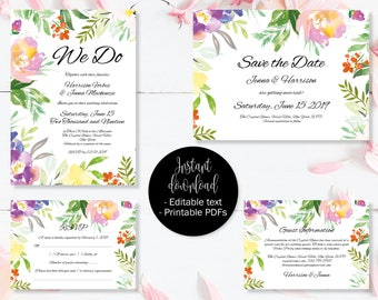 Wedding Invitation Template Set, Save the Date, Invite, RSVP, Guest Information, Editable Printable Wedding Templates, Border 7 SETA-7