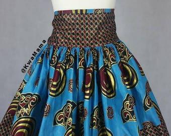 Ankara high waist skirt, African wax mini skirt, Kitenge short skirt, Ankara summer skirt, wax africaine, Size US 10