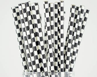 Black Checkered Paper Straws - Party Decor Supply - Cake Pop Sticks - Party Favor
