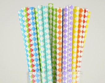 Mix Color Diamond Paper Straws - Yellow/Orange/Red/Purple/Green/Turquoise/Blue - Party Decor Supply - Cake Pop Sticks - Party Favor