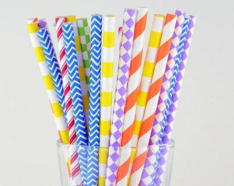 Rainbow Color Mix Paper Straws - Striped/ Circle/ Checkered/ Chevron/ Diamond- Party Decor Supply - Cake Pop Sticks - Party Favor