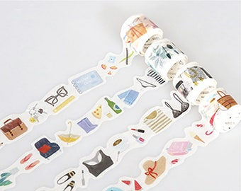 Set of 4 Rolls Long Vacation Washi Tape - 30mm x 5m - Gift Wrapping - Decorative Tape - Scrapbooking Sticker