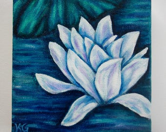 Water Lilies V - Original Oil Painting on Canvas- Very Small Canvas - Blue, White, Green, Nature Art, Flower Painting, Ready to Hang