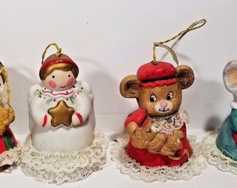 Vintage Christmas Bell Ornament Set of 4 Jasco