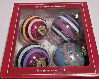 Vintage St Nicholas Square Ornaments Set of 4