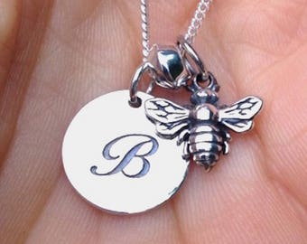 Bee charm personalized monogram initial pendant Honeybee Bumblebee Necklace Spring Jewelry Sterling silver Flying Insect