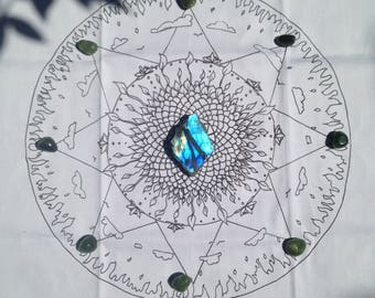Dimond light Fire Dragon Energy- Crystal grid- Alter cloth- Mandala- Meditation tool.