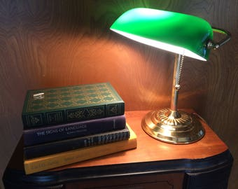 Vintage Bankers Lamp -Emerald Green Shade Piano Desk Lamp