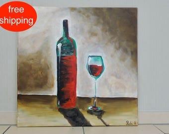 """Acrylbild, Malerei, Gemälde, """"Wein/wine"""", modern, acrylic painting, Acryl auf Leinwand, Handgefertigt, Wandkunst, kostenlose Lieferung"""