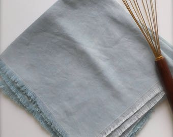 Hand dyed Linen napkins, hand-frayed, Set of 4