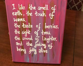 I like the smell of the earth - quote